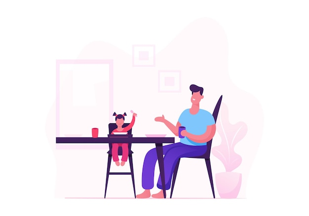 Szczęśliwa rodzina ojca i mała dziewczynka siedzi na wysokim stołku po kolacji siedząc przy stole z jedzeniem w kuchni