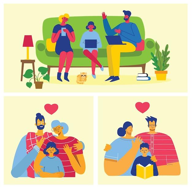 Szczęśliwa rodzina. ojciec, matka i córka razem. ilustracja wektorowa w płaskiej konstrukcji