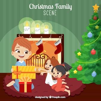Szczęśliwa rodzina otwierając prezenty tle