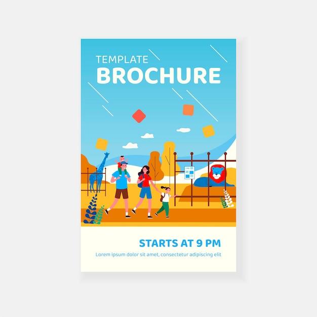 Szczęśliwa rodzina para z podekscytowany dzieci chodzenie w szablonie broszury zoo
