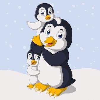 Szczęśliwa rodzina pingwinów