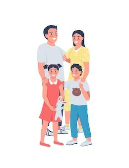 Szczęśliwa rodzina płaskie szczegółowe postacie. uśmiechnięci rodzice z dziećmi. matka, ojciec z dziećmi.