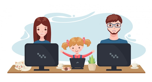 Szczęśliwa rodzina pracuje i studiuje w domu z komputerem w kreskówka stylu.