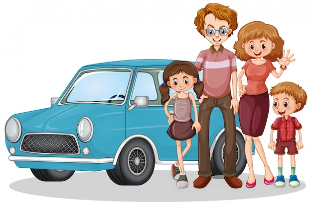 Szczęśliwa rodzina przed samochodem