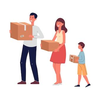 Szczęśliwa rodzina przeprowadzka ilustracja na białym tle. małżeństwo z postaciami z kreskówek dla dzieci niosące rzeczy zapakowane w pudełka kartonowe.