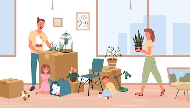 Szczęśliwa rodzina przeprowadzki, przeprowadzka do nowego domu lub mieszkania w domu ilustracji wektorowych. kreskówka ojciec, matka i syn córka dzieci postacie rozpakowujące lub pakujące rzeczy do przeniesienia, tło relokacji