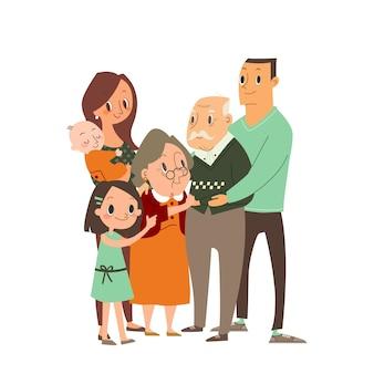 Szczęśliwa rodzina przytulanie siebie. kilka pokoleń, dziadkowie, rodzice z dziećmi, wnuki. ilustracja postać z kreskówki.