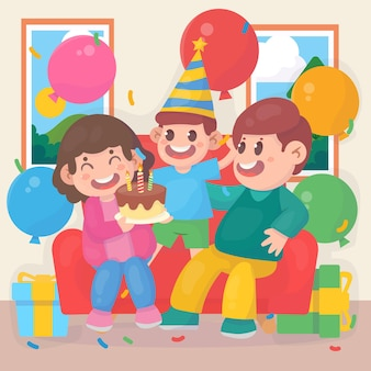 Szczęśliwa rodzina razem świętuje urodziny z balonami na prezenty i ciastem