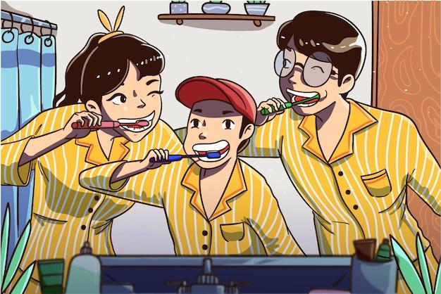 Szczęśliwa rodzina razem szczotkować ząb. ręcznie rysowane ilustracji