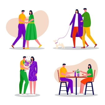 Szczęśliwa rodzina relaks, taniec, spacery. mężczyzna i kobieta, para spędzać czas razem. mąż i żona siedzi przy stole kawiarni lub restauracji. ilustracje wektorowe płaskie wnętrza