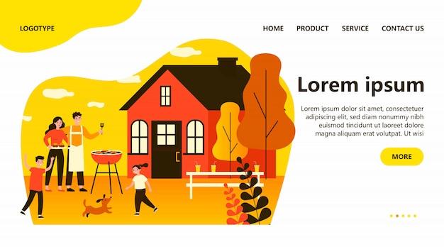 Szczęśliwa rodzina robi grilla w ogrodzie płaskie ilustracja