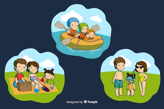Szczęśliwa rodzina robi zajęcia na świeżym powietrzu. projektowanie postaci