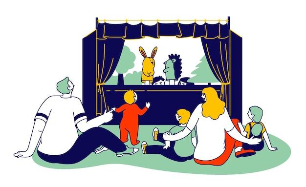 Szczęśliwa rodzina rodziców i dzieci razem oglądając przedstawienie kukiełkowe. płaskie ilustracja kreskówka