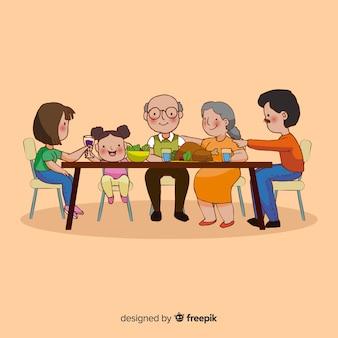 Szczęśliwa rodzina siedzi przy stole, projektowanie postaci