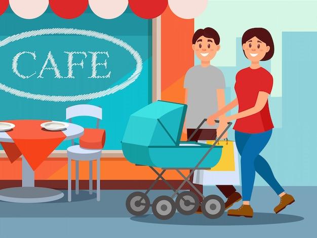 Szczęśliwa rodzina spaceru w centrum miasta. młoda matka pchanie wózka, ojciec noszenie torby na zakupy. fasada kawiarni na tle. ludzie z kreskówek. płaska konstrukcja