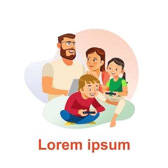 Szczęśliwa rodzina spędza czas razem koncepcja wektor