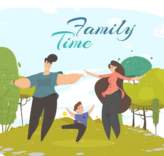 Szczęśliwa rodzina spędza razem czas w parku