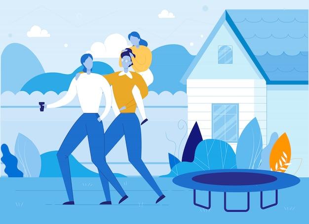 Szczęśliwa rodzina spędzać czas na podwórku domu stoczni