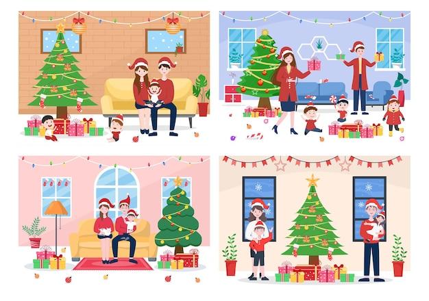 Szczęśliwa rodzina spotyka się na boże narodzenie w salonie drzewo dekoracji i tło wektor prezent