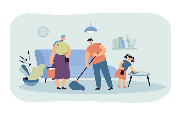 Szczęśliwa rodzina sprzątanie domu razem płaska ilustracja. ilustracja kreskówka
