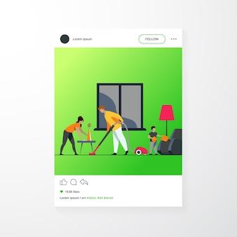 Szczęśliwa rodzina sprzątanie razem płaskie wektor ilustracja. córka, matka i ojciec pracujący w gospodarstwie domowym. koncepcja sprzątania i domu