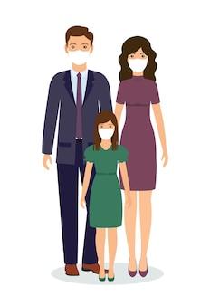 Szczęśliwa rodzina stojąc razem w maskach medycznych. postacie ojca, matki i córki.