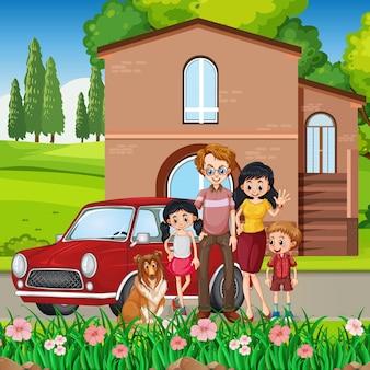 Szczęśliwa rodzina stojący poza domem z samochodem
