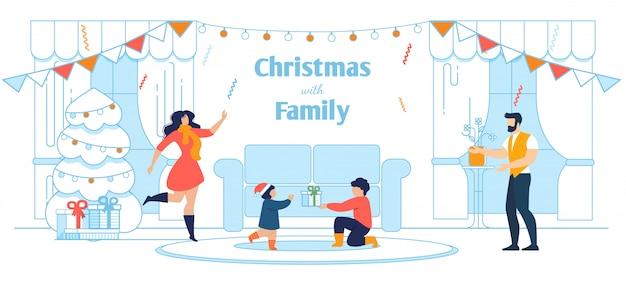 Szczęśliwa rodzina świętuje boże narodzenie w domu transparent