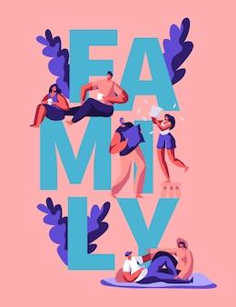 Szczęśliwa rodzina transparent typografia motywacja para. mężczyzna i kobieta postać odpocząć na powitanie plakat. piknik na świeżym powietrzu na wakacje. wakacje razem pionowe ulotki płaskie kreskówka wektor ilustracja