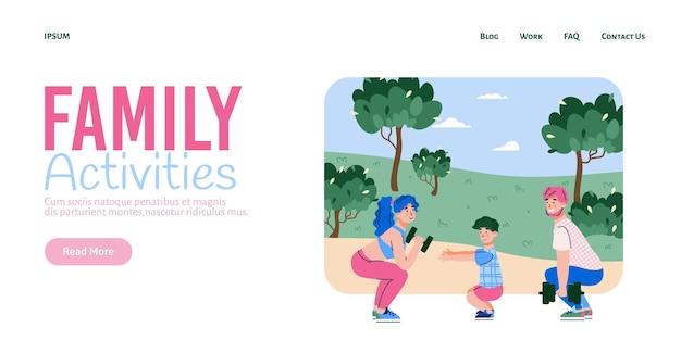Szczęśliwa rodzina trenuje razem w parku projekt wektorowy dla strony internetowej