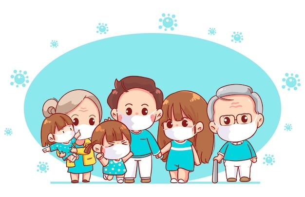Szczęśliwa rodzina ubrana w ochronną maskę medyczną do zapobiegania wirusowi ilustracja kreskówka sztuki