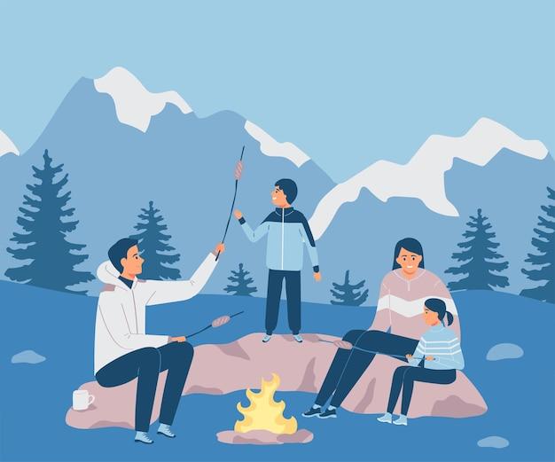 Szczęśliwa rodzina w górach ojciec matka i dziecikempingilustracja wektorowa w płaskim stylu