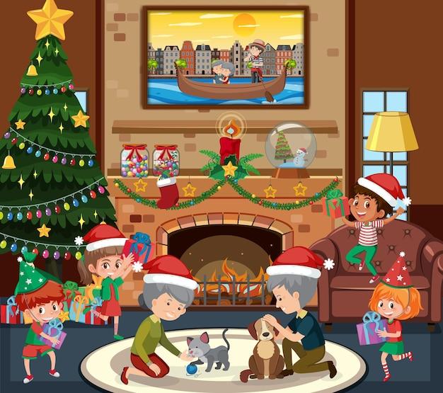 Szczęśliwa rodzina w motywie świątecznym w scenie w salonie