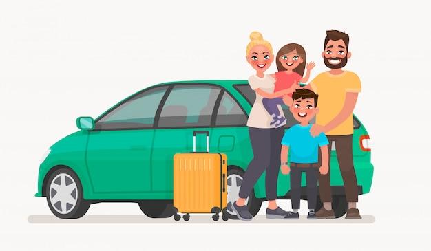 Szczęśliwa rodzina w pobliżu samochodu z bagażem. rodzinne podróże samochodem