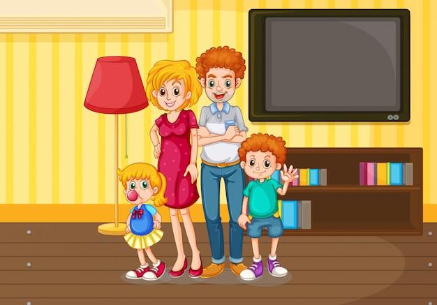 Szczęśliwa rodzina w salonie