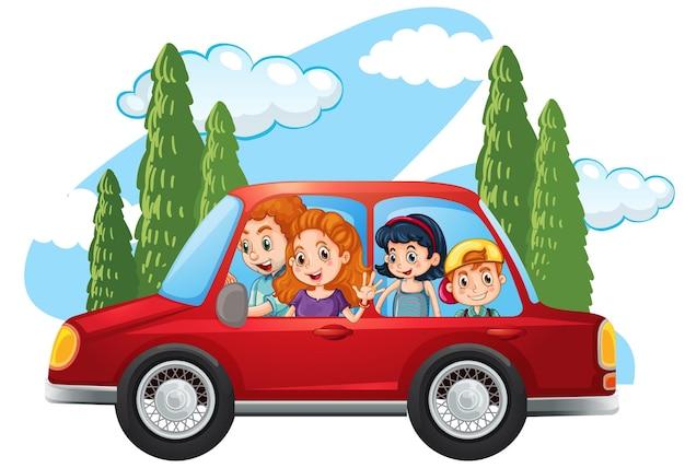 Szczęśliwa rodzina w samochodzie