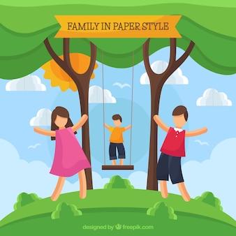 Szczęśliwa rodzina w stylu sztuki papieru