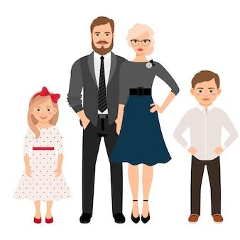 Szczęśliwa rodzina w ubraniach w stylu klasycznym
