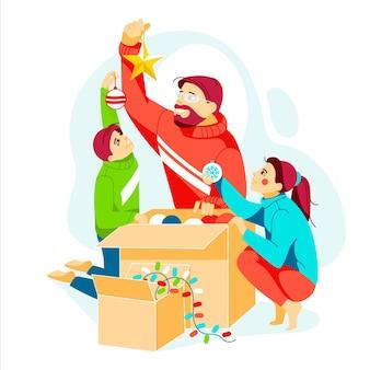Szczęśliwa rodzina wspólnie udekoruj choinkę i przygotuj się na obchody ferii zimowych