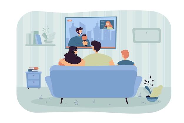 Szczęśliwa rodzina z dzieckiem siedzi na kanapie i ogląda wiadomości na białym tle płaska ilustracja
