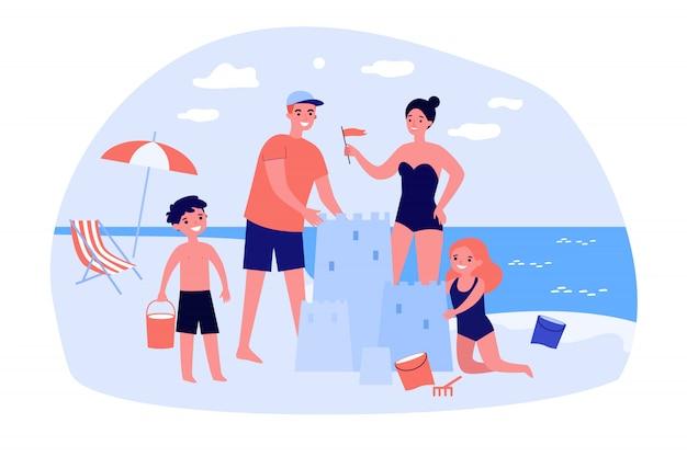 Szczęśliwa rodzina z dziećmi, ciesząc się wakacjami