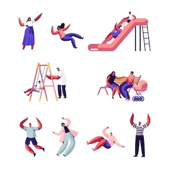 Szczęśliwa rodzina z dziećmi na świeżym powietrzu zestaw zabawny. płaskie ilustracja kreskówka