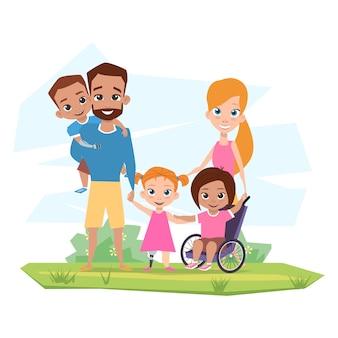 Szczęśliwa rodzina z dziećmi niepełnosprawnymi obejmuje