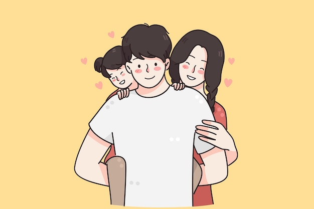 Szczęśliwa rodzina z koncepcją dzieci