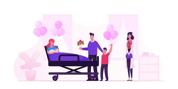Szczęśliwa rodzina z noworodkiem w izbie szpitala położniczego. płaskie ilustracja kreskówka
