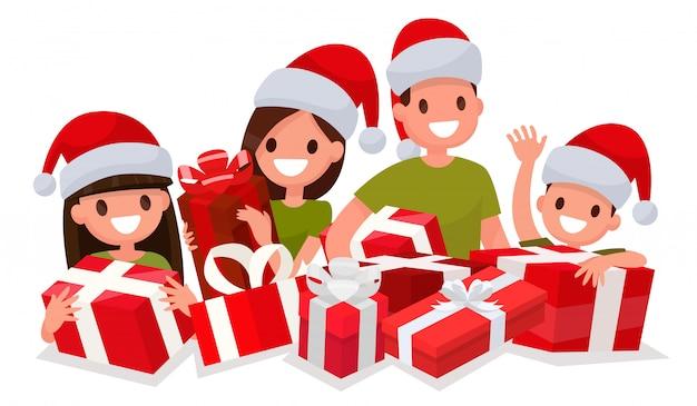 Szczęśliwa rodzina z prezentami na nowy rok. element do dekoracji świątecznych wyprzedaży.