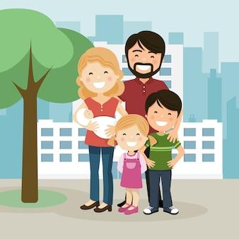 Szczęśliwa rodzina z rodzicami, dziećmi i babyborn w ogrodzie