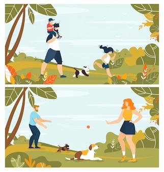 Szczęśliwa rodzina z zwierzętami domowymi i aktywny odpoczynek w parkowej ilustraci