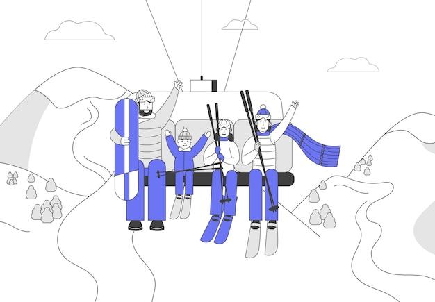 Szczęśliwa rodzina ze sprzętem do jazdy na nartach i deskorolce wjeżdża do wyciągu narciarskiego
