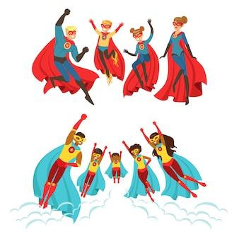 Szczęśliwa rodzina zestaw superbohaterów. uśmiechnięci rodzice i ich dzieci przebrani za superbohaterów kolorowe ilustracje